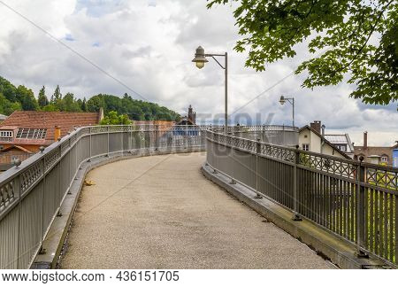Scenery With Bridge In Immenstadt, A Town In The Upper Allgaeu In Bavaria, Germany