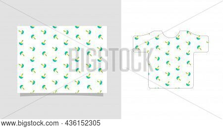 Cute Pattern For Baby Clothes Or Diapers. Mushrooms With Blue Caps And Lemon Legs On A White Backgro