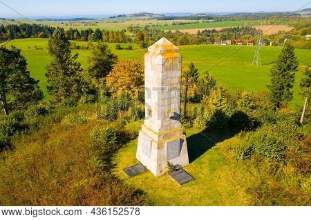 Bochov - Czech Republic - October 5, 2019: Monument to the victims of the First World War. Important landmark near Karlovy Vary. Czech Republic, Central Europe.