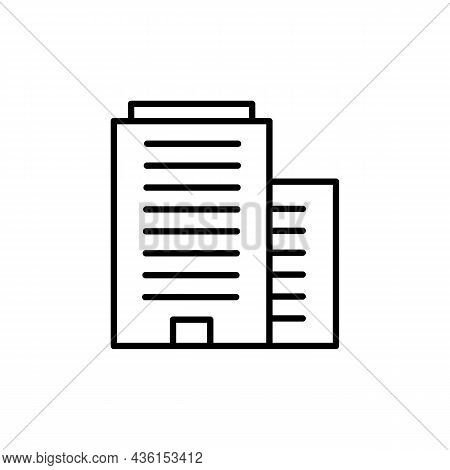 Office Business Building Black Icon. Architecture Concept. Trendy Flat Isolated Outline Symbol, Sign