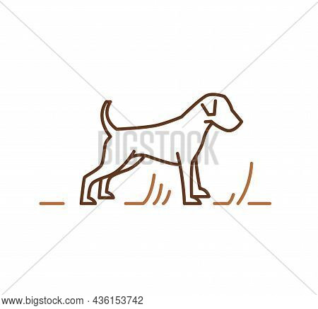 Jack Russell Terrier Dogs Icon, Outline Vector Illustration For Veterinary Petshop Advertising. Ener