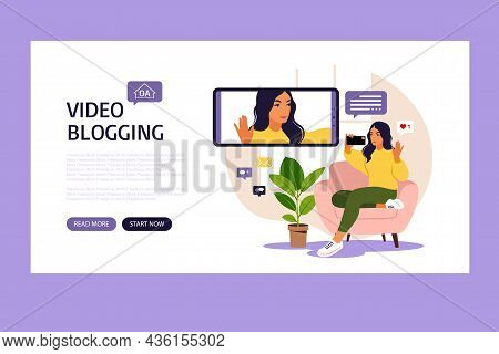 Woman Video Blogger Sitting On Sofa With Phone And Recording Video With Smartphone. Landing Page. Di
