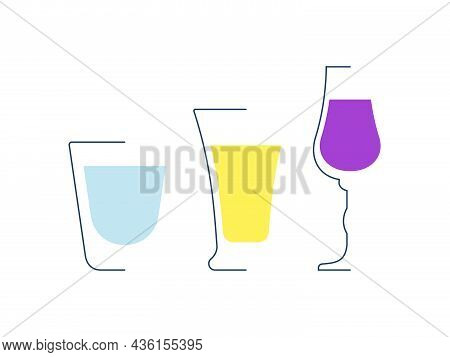 Vodka Tequila And Liquor Glass In Minimalist Linear Style. Contour Of Glassware On Left Side In Form