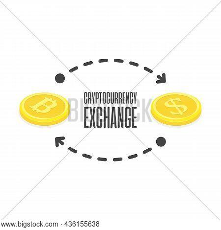 Cryptocurrency Exchange, Crypto-exchange Concept. Bitcoin To Dollar Exchanging. Blockchain Technolog