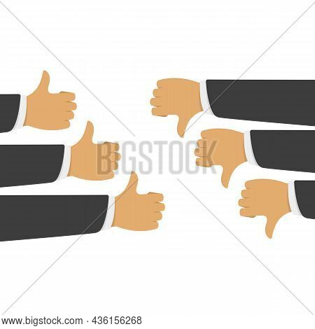 Like And Dislike Confrontation. Group Of Thumbs Up And Down In Flat Style. Concept For User Feedback