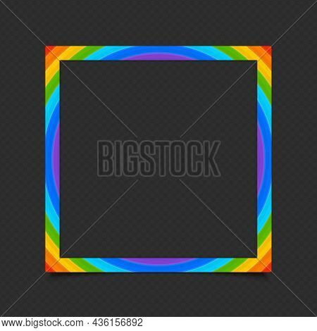 Realistic Rainbow Colors Photo Frame Template Isolated On Transparent Background. Multicolor Blank P