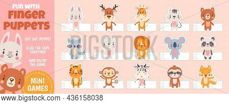 Finger Puppets Forest Animals For Paper Cut Kids Activities. Home Theater With Handmade Cartoon Toys