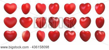 Valentines Day Love Symbol, 3d Hearts Rotation. Realistic Romantic Emoji, Red Heart Icon Front And S