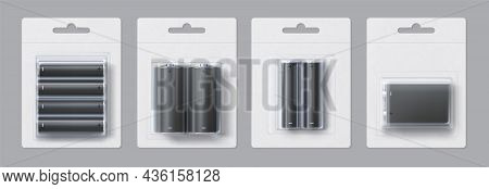 Alkaline Metal Battery Blank Package Realistic Mockup. Disposable Electric Accumulator Sizes In Pape