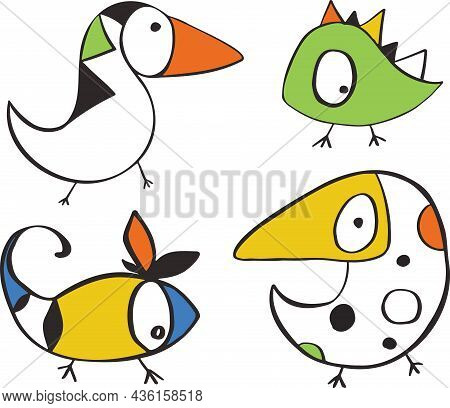 Character Monsters Fictional Funny Cartoons Animals Vector