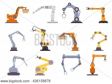 Factory Robot Arms, Manipulators And Cranes For Manufacture Industry. Flat Mechanic Control Tool, Au
