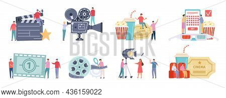 Flat Tiny Characters Recording, Making And Watching Movies. Film Director, Shooting Crew, People At
