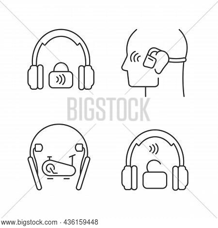 Wireless Headphones Linear Icons Set. Professional On Ear Headset. In Ear Earphones For Sport Activi