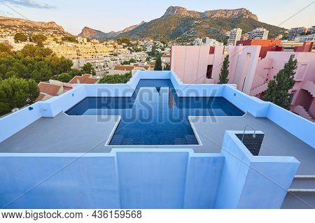 Picturesque Geometric Pool In Mediterranean Coast. Calpe, Alicante. Spain