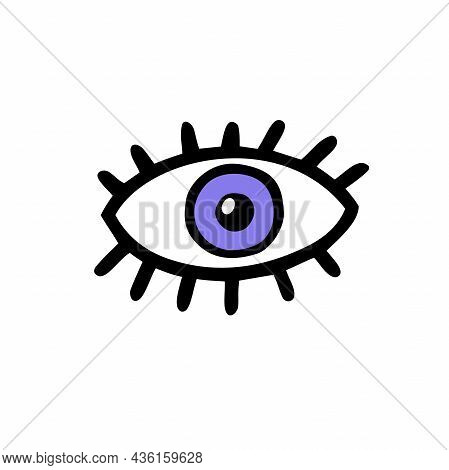Doodle Scary Eye. Hand-drawn Crazy Monster Element. Violet Eyeball With Pupil, Eyelashes. Witch, Zom