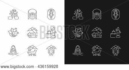 Culture Of Nepal Linear Icons Set For Dark And Light Mode. Trekking Destination. Earthquake. Religio