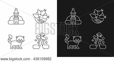 Tourism In Nepal Linear Icons Set For Dark And Light Mode. Swayambhu Stupa. Nepalese Cuisine. Red Pa