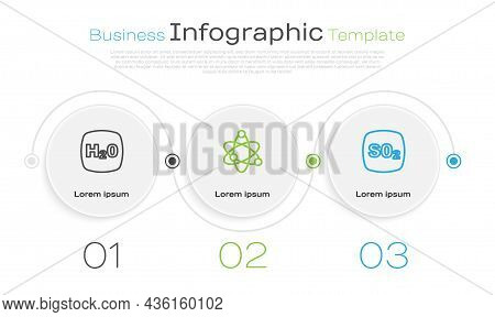 Set Line Chemical Formula H2o, Atom And Sulfur Dioxide So2. Business Infographic Template. Vector
