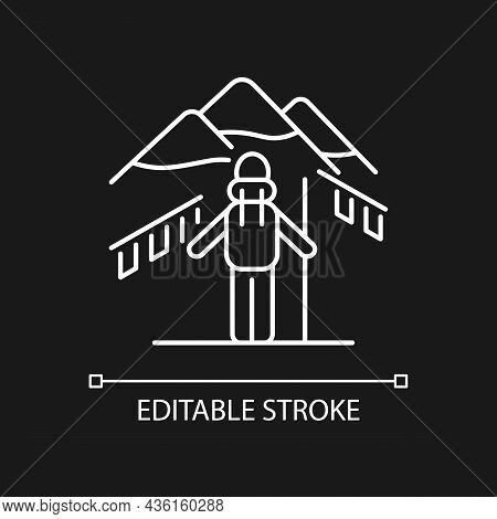 Trekking In Nepal White Linear Icon For Dark Theme. Mountaineering. Hiking Through Himalayas. Thin L