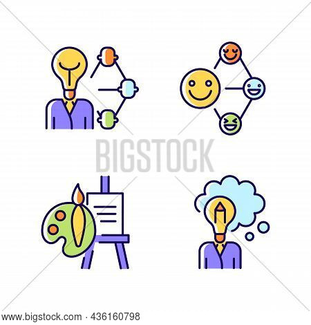 Creative And Professional Talents Rgb Color Icons Set. Networking Talent. Leadership And Influence A