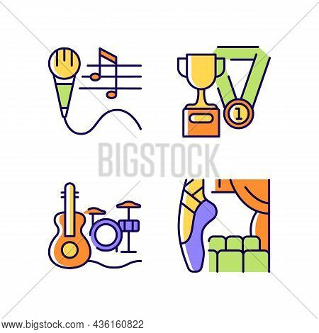 Hobby And Leisure Rgb Color Icons Set. Talent Competition. Performing On Stage. Musical And Sports T