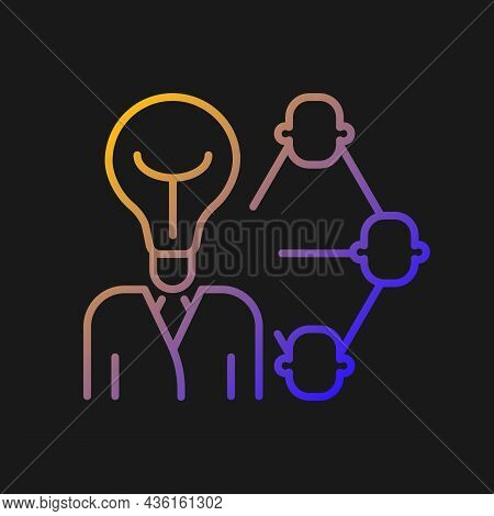 Influencing And Leadership Gradient Vector Icon For Dark Theme. Inspire And Impact People. Control A