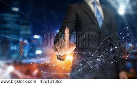 Social Web Network Concept . Mixed media