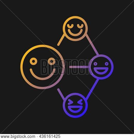 Networking Talent Gradient Vector Icon For Dark Theme. Build Relationship Ability. Empathy And Liste