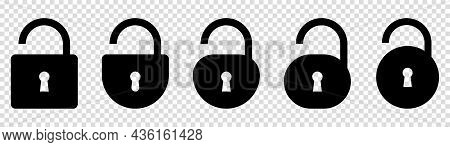 Set Of Unlocks Icons. Vector Illustration Isolated On Transparent Background