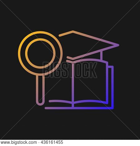 Academic Research Talent Gradient Vector Icon For Dark Theme. Study And Investigation. Cognitive Ski