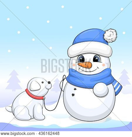 Cute Cartoon Snowman With Snow Dog. Winter Vector Illustration On A Blue Background.
