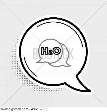 Line Chemical Formula For Water Drops H2o Shaped Icon Isolated On Grey Background. Colorful Outline