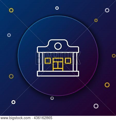 Line Wild West Saloon Icon Isolated On Blue Background. Old West Building. Colorful Outline Concept.