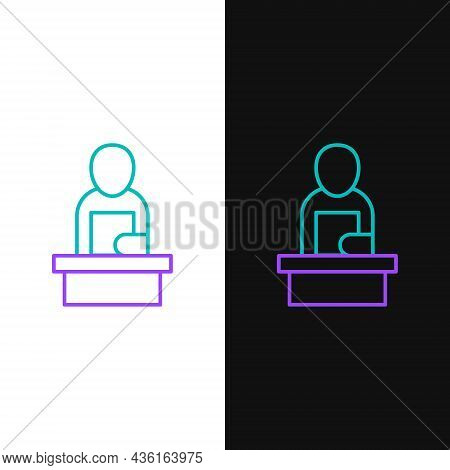 Line Breaking News Icon Isolated On White And Black Background. News On Television. News Anchor Broa