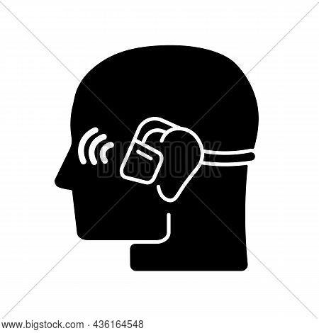 Open Ear Wireless Headphones Black Glyph Icon. Bone Conduction Earphones. Headset For Sport And Acti