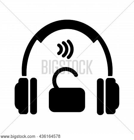 Open Back Headphones Black Glyph Icon. Over Ear Earphones For Professional Music Mastering. Wired He