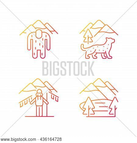 Mountaineering In Nepal Gradient Linear Vector Icons Set. Trekking Peaks. Himalayan Folklore. Snow L