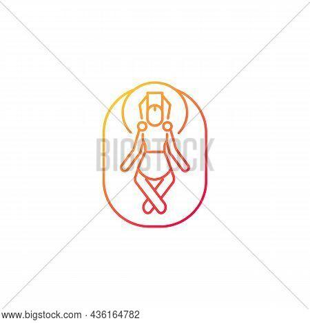 Budhanilkantha Temple Gradient Linear Vector Icon. Vishnu Awakening Celebration. Famous Stone Statue