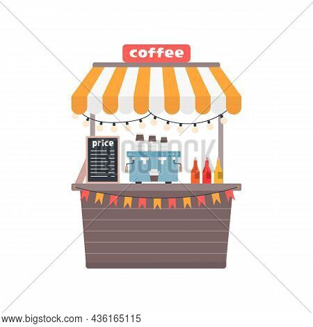 Coffee Stall, Street Shop, Vector Illustration In Flat Style On White Background