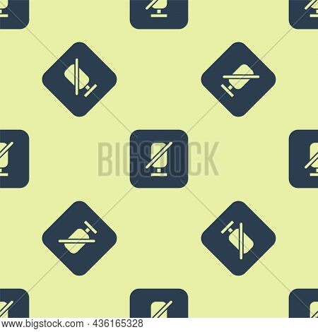 Blue Mute Microphone Icon Isolated Seamless Pattern On Yellow Background. Microphone Audio Muted. Ve