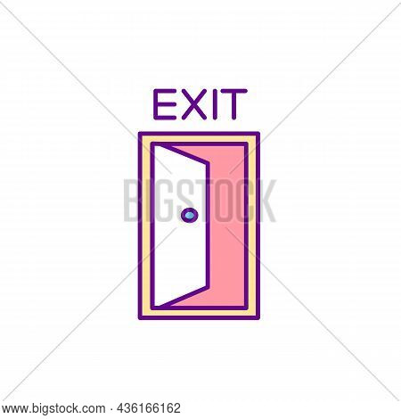 Emergency Exit Door Rgb Color Icon. Way With Directional Plaque. Doorway To Leave. Entry Place. Fire