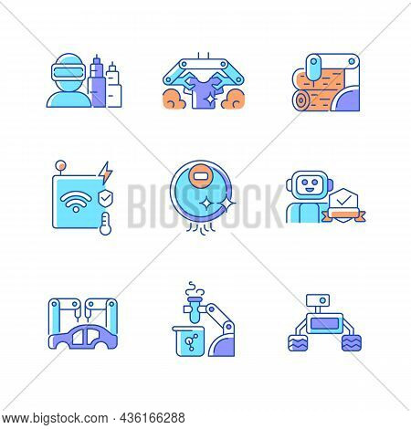 Automation Technologies Rgb Color Icons Set. Manufacturing Robots. Internet Of Things Devices. Autom