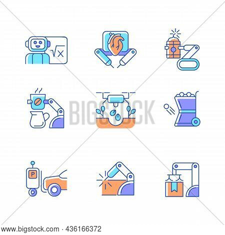 Leading Technologies Rgb Color Icons Set. Autonomous Robots In Gardening And Cooking. Industrial Aut