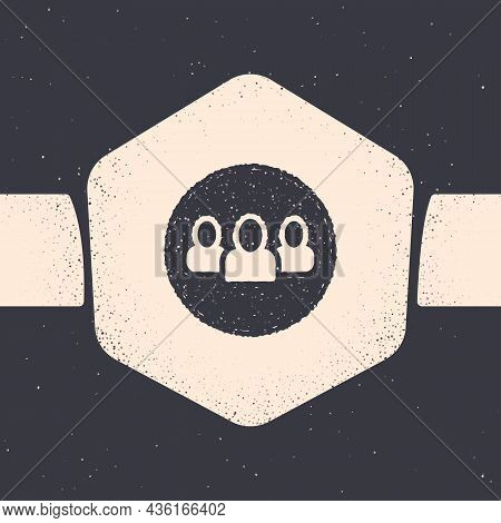 Grunge Project Team Base Icon Isolated On Grey Background. Business Analysis And Planning, Consultin