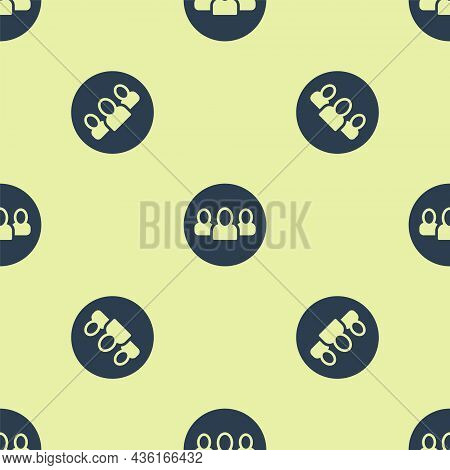Blue Project Team Base Icon Isolated Seamless Pattern On Yellow Background. Business Analysis And Pl