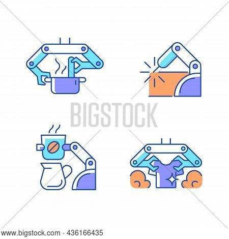 Automated Mechanical Devices Rgb Color Icons Set. Robotic Kitchen. Welding Robotics. Coffee Making R