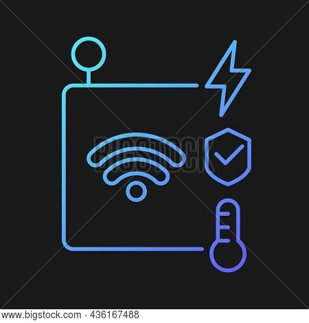 Iot Sensors Gradient Vector Icon For Dark Theme. Information Transmission Over Wireless Network. Sma