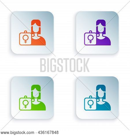 Color Female Movement, Feminist Activist With Banner And Placards Icon Isolated On White Background.