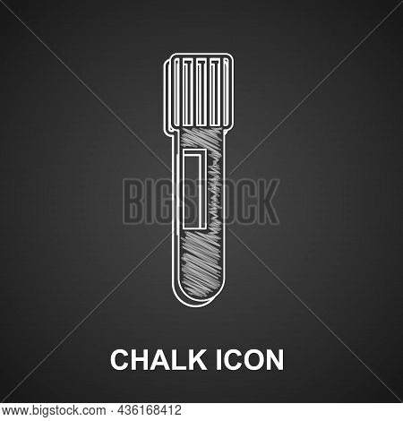 Chalk Test Tube And Flask Chemical Laboratory Test Icon Isolated On Black Background. Laboratory Gla