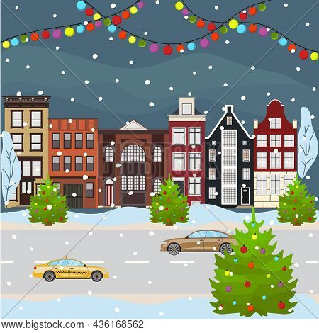 Christmas And Happy New Year City Scape Celebrating Winter Holidays. Cartoon Old Building Town Stree